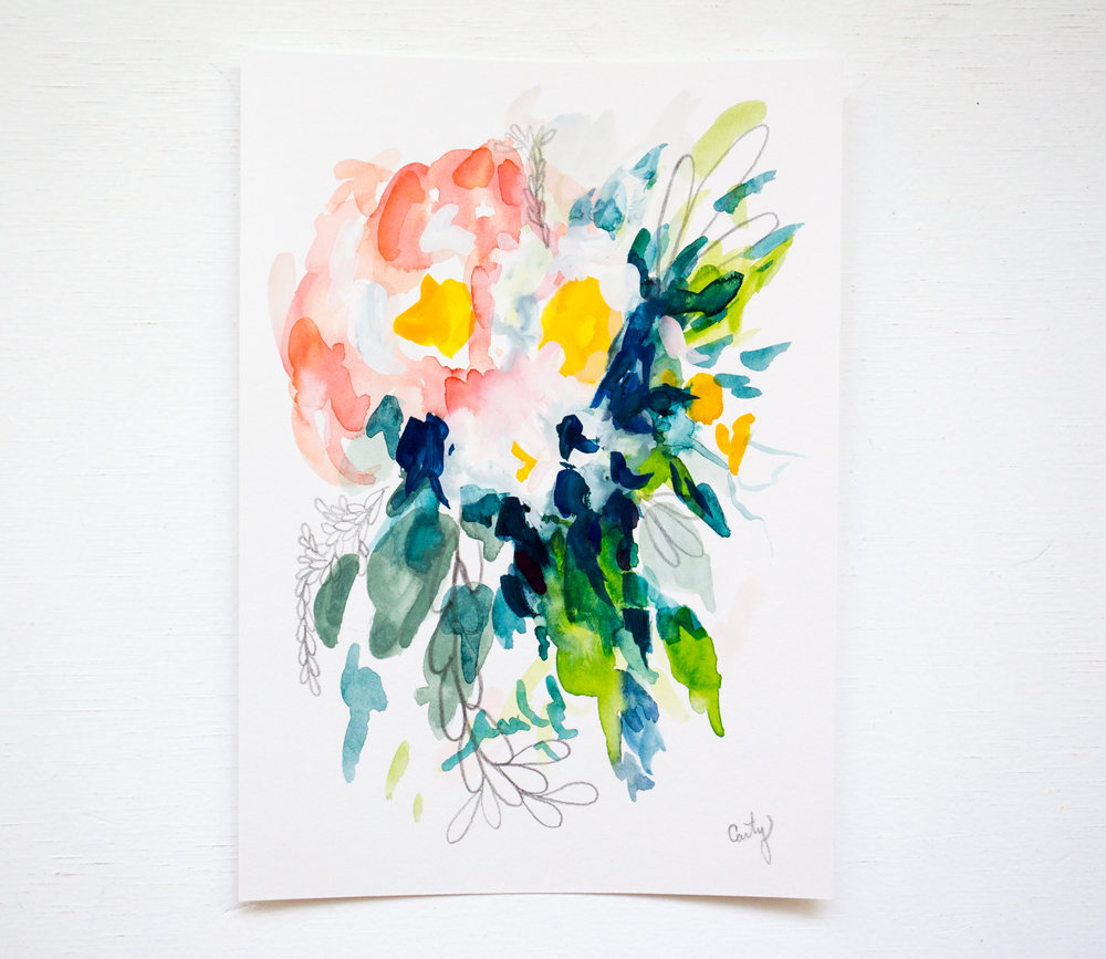 Peony; 5x7 abstract watercolor floral painting — Megan ...