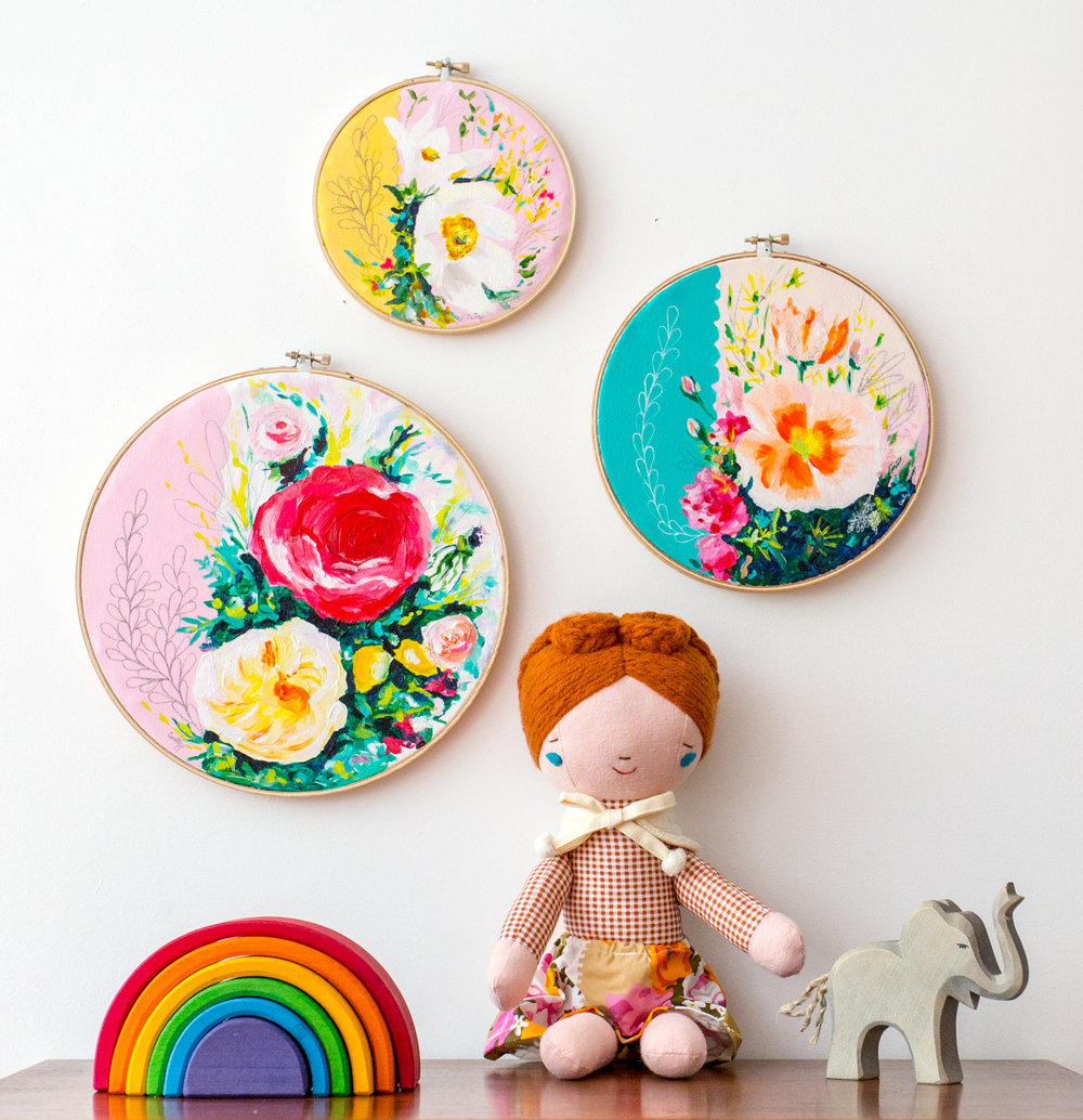 embroidery hoop art, original floral paintings by Megan Carty, girl's nursery art
