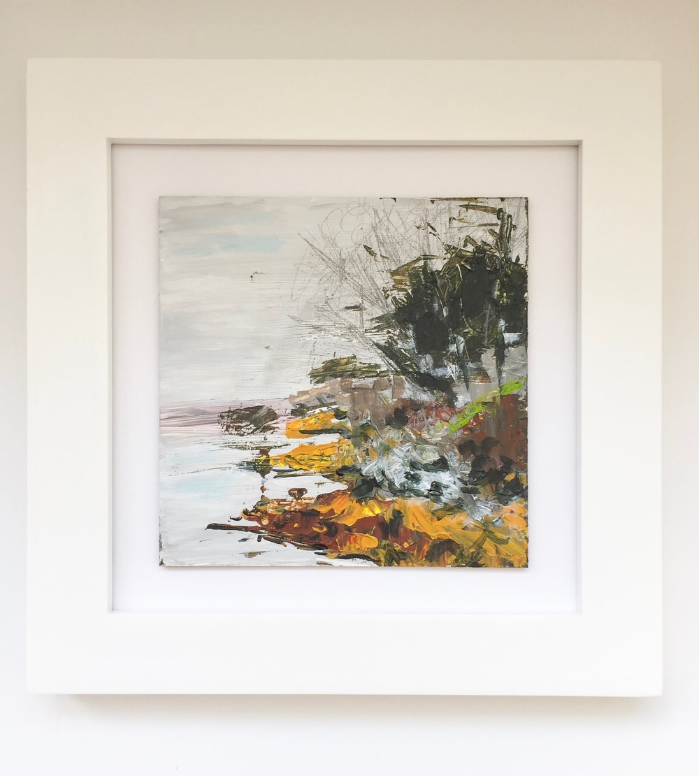 New England Contemporary Abstract Landscape Painting by Megan Carty, Casco Bay, Yarmouth, Maine