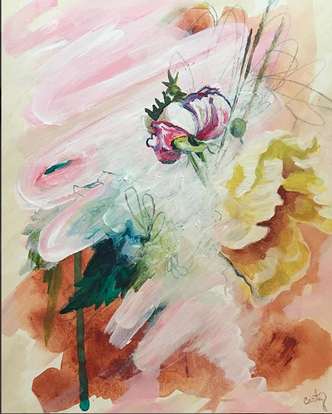 depression abstract floral painting by Megan Carty