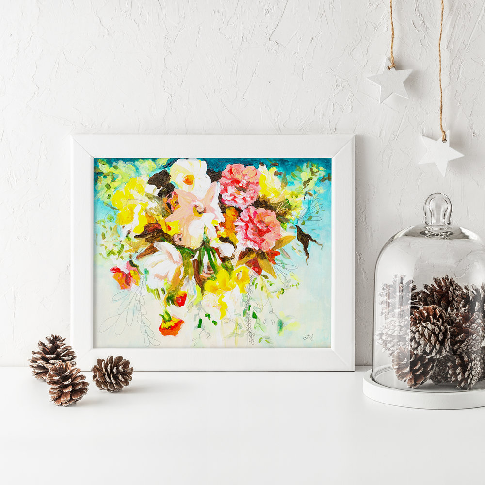 pretty floral art print by Megan Carty, teal blue, bright floral bouquet