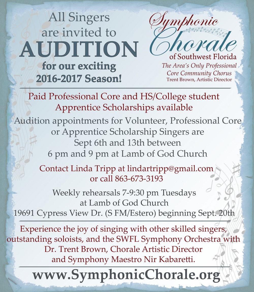 2016 - 2017 Symphonic Chorale Auditions