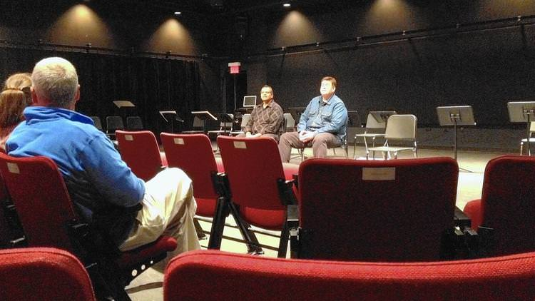 Producer Malik Gillani and Playwright Jamil Khoury at North Central College discussing Mosque Alert