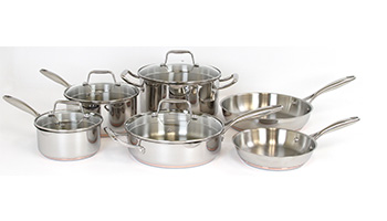 ONEIDA 10 PC STAINLESS STEEL COPPER BASE COOKWARE SET ITEM #35001