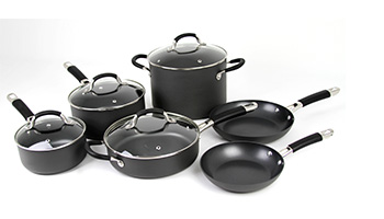 ONEIDA 10 PC HARD ANODIZED ALUMINUM COOKWARE SET ITEM #35005