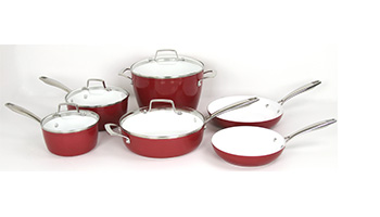 ONEIDA 10 PC FORGED ALUMINUM COOKWARE SET - red ITEM #35007