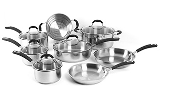 ONEIDA 13 PC STAINLESS STEEL COOKWARE SET ITEM #35018