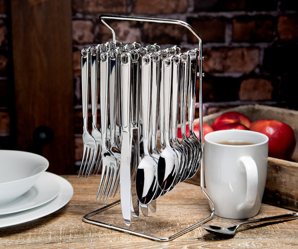 Hyde Park Flatware - Hyde Park (Retail $79.99)20pc Set w/ CaddyGauge: 4.0-4.5mmFinish: MirrorMaterial: 18/0