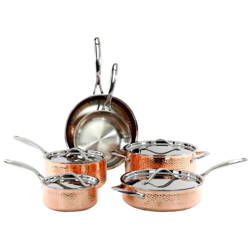 10PC TRIPLY HAMMERED SET-COPPER (#35038)