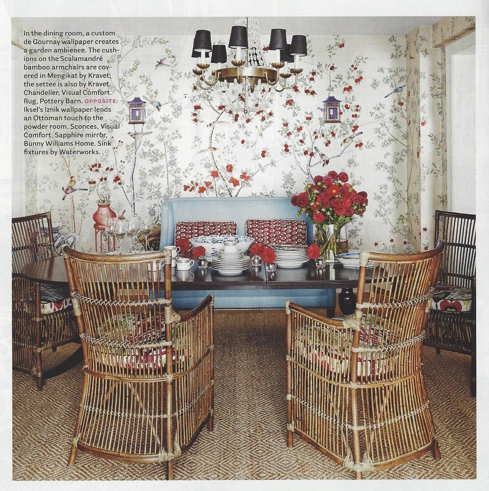 The DeGournay wallpaper that Mark designed custom for this dining room sets the tone for the whole room. Stunning!