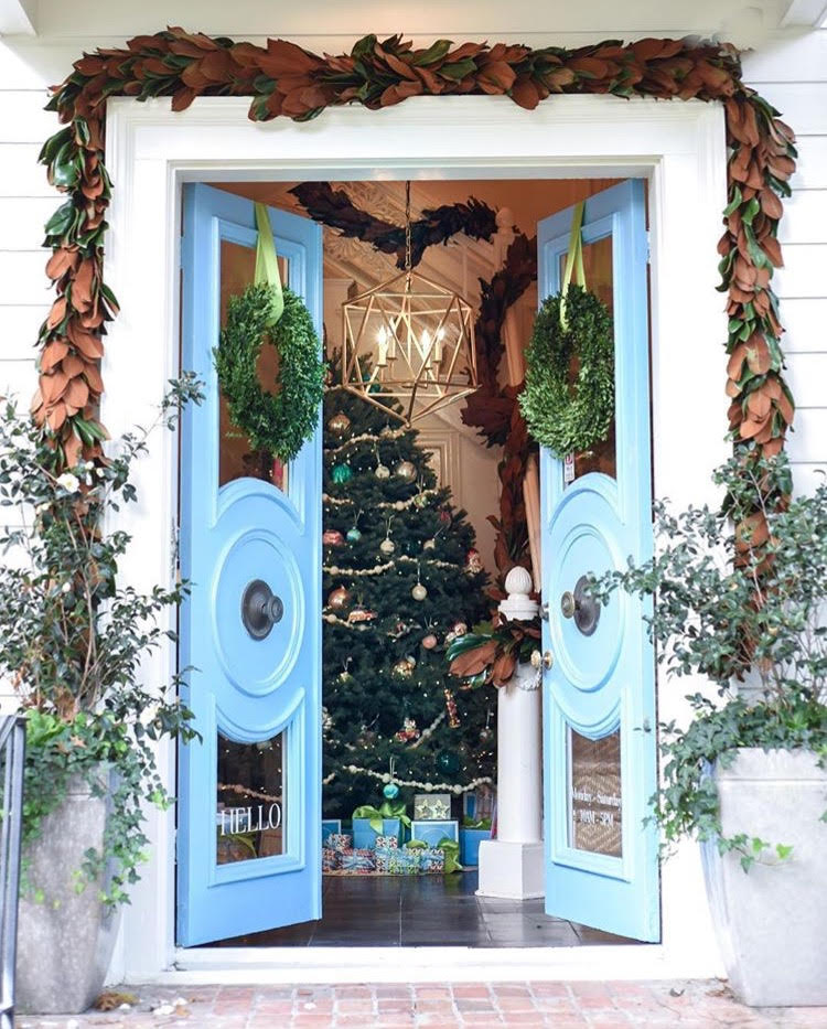 Fabulous art featured at blue print kay genua designs beautiful holiday entrance to the blue print store i love this old building i could live here malvernweather Images