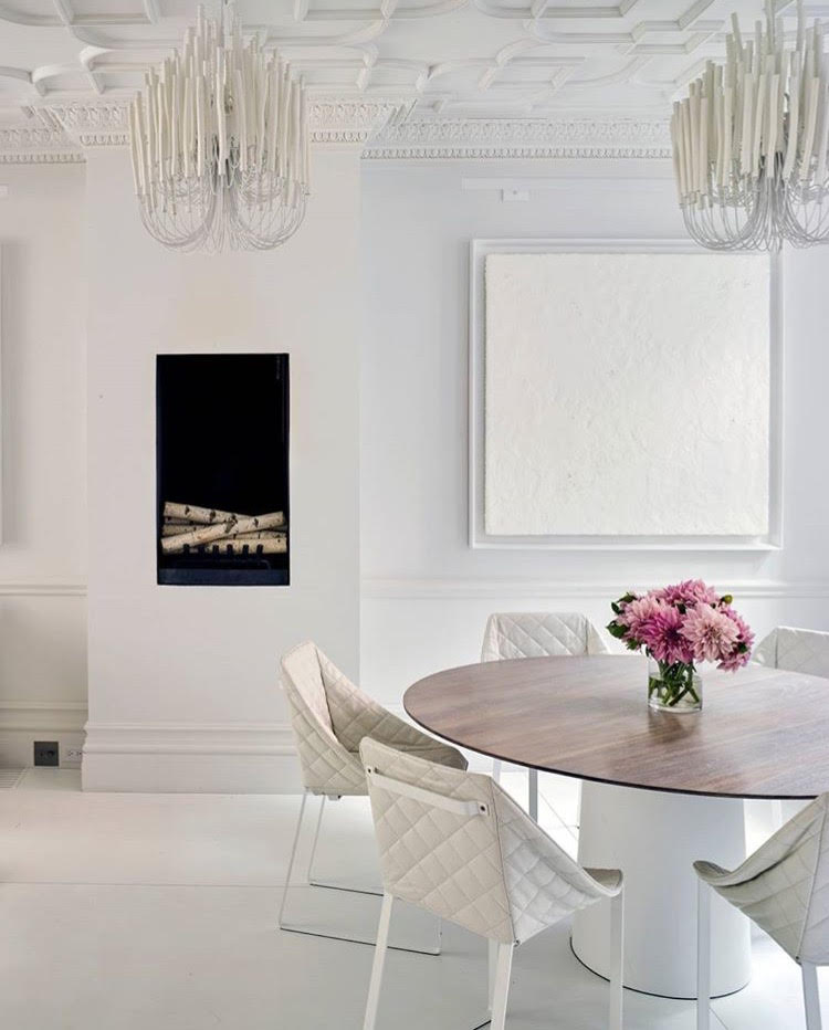 The Dining Room Table Features Custom And Chairs From Piet Boon With Chandeliers By Arteriors It Is So Quiet Elegant Also Love Piece Of Art