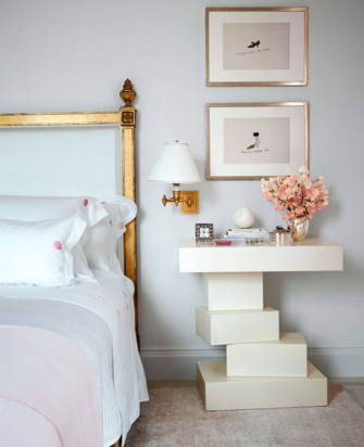 What a cool bedside table from Herve van der Straeten. The gilded headboard is glamorous.