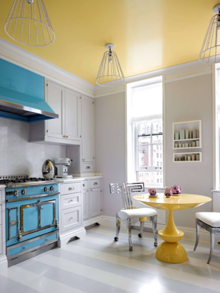 This kitchen is fabulous!!!!!! The sunny yellow ceiling and breakfast table is a glorious way to greet the day! I love La Cornue stoves—- they are jewelry to a kitchen. This powder blue is a great contrast to the happy yellow. Those breakfast chairs exude attitude!!!