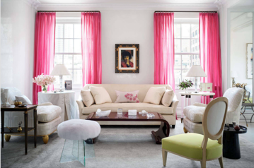 What an incredible room!!!! The pink silk draperies were so important to the wife and McCarthy had a hard time getting the exact color right. The wife finally sent him a ribbon to show him the exact color she wanted. This silk taffeta from Macondo Silks finally hit the nail on the head! I adore the gold legs on the armchairs done in a Christopher Highland silk. The pillow on the sofa is made from a Dior scarf. The small Diego Giacometti table came from their home in California —- and now has a much bigger presence. What a stunning room!