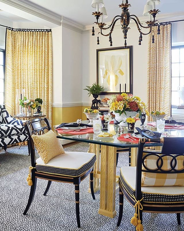 Loving this dining room with its sassy leopard-print carpet and pops of coral! . . . #kgdesigns #interiordesign #kaygenuadesigns #fortworthinteriordesigner #fortworth #blogger #interiordesigner #designer  #design #homedecor #interiors #decor #blog #fwinteriordesigner #ftworthtx