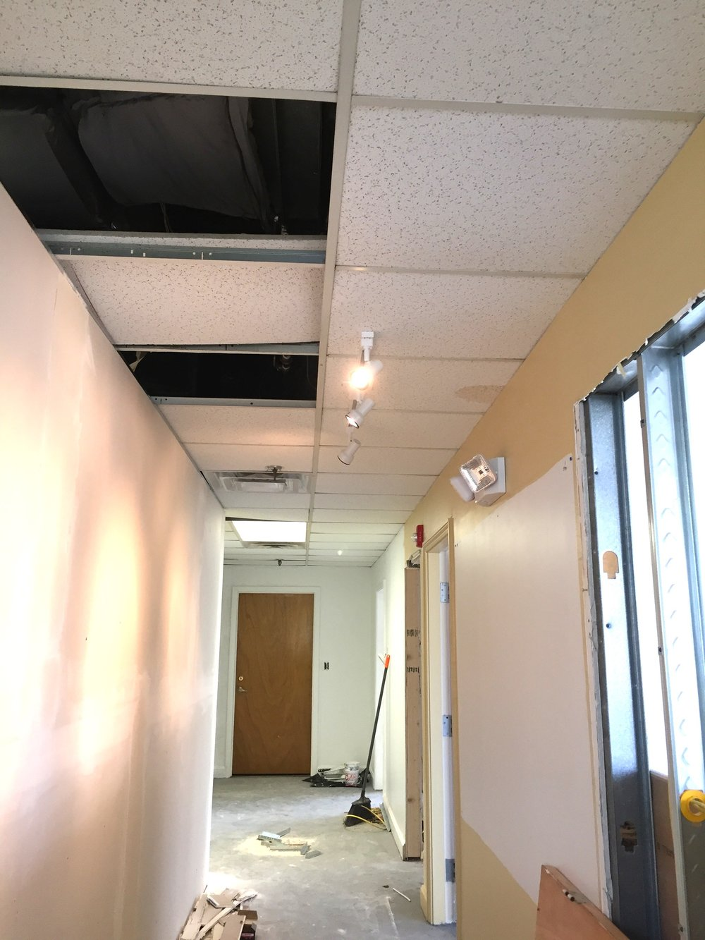 The hallway, mid-construction