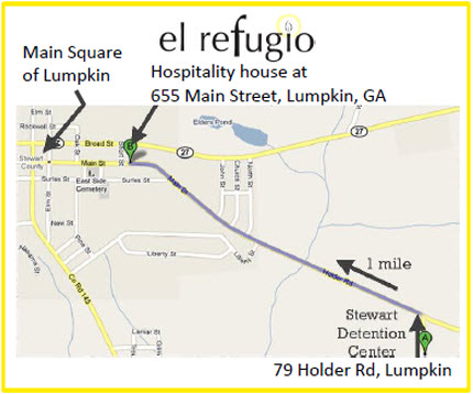 Map to El Refugio in Lumpkin, GA from El Refugio's website
