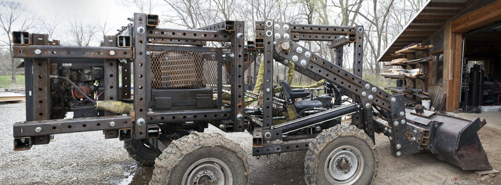 "Tractor with Powercubes (pano), Missouri, c-print (17"" x 30"") 2014"