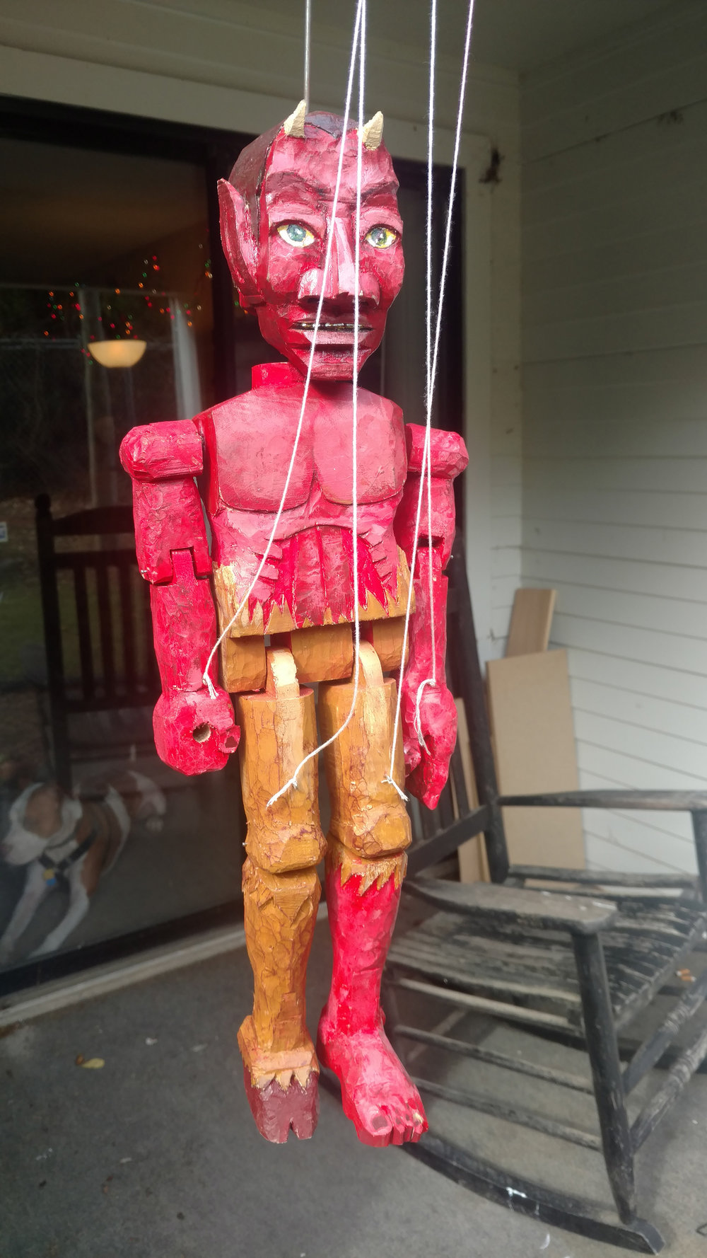 Devil Marionette, Wood and string, 2018