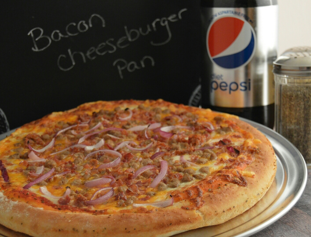 BACON CHEESEBURGER PAN: Pizza sauce, provolone and cheddar cheese, ground beef, bacon and onions.