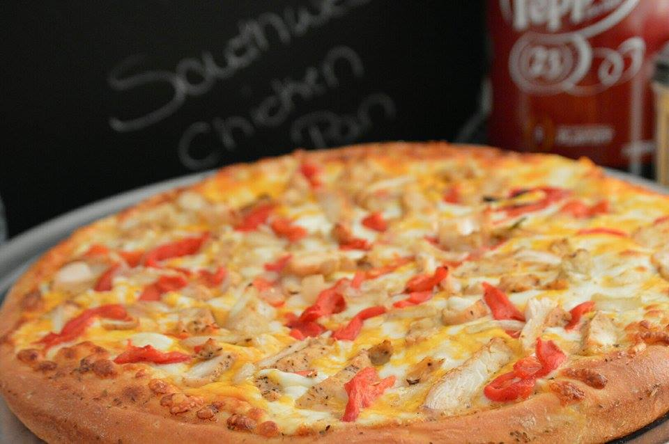 SOUTHWEST CHICKEN PAN: Southwest Ranch dressing, Roasted chicken strips, roasted peppers and roasted onions, mozzarella and cheddar cheese. ( ONLY AVAILABLE IN PAN CRUST)