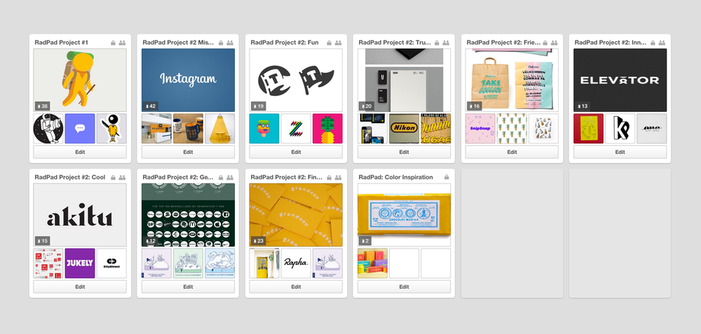 Pinterest boards organized by RadPad's personality traits