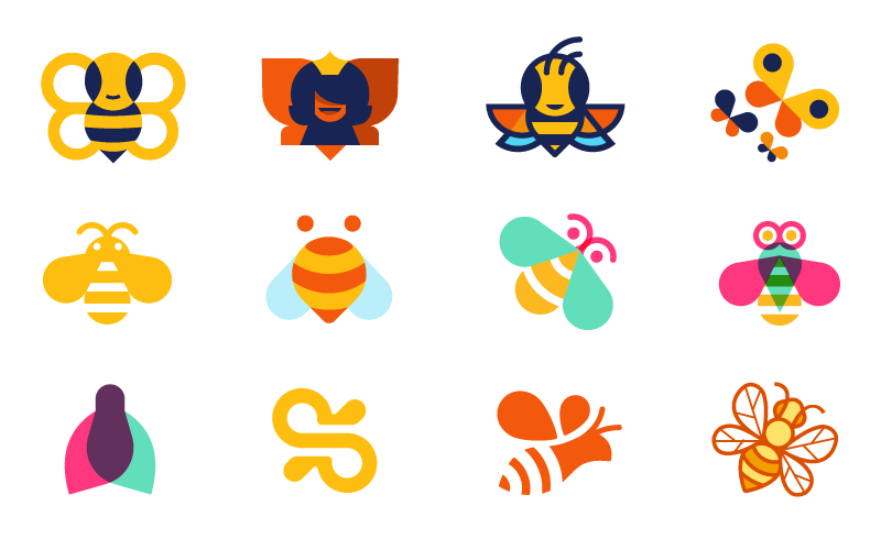 A selection of bees designed by Mike McVicar and Zack Davenport