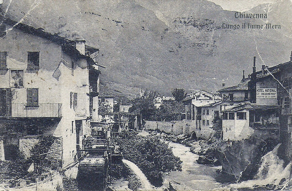 Historic photo of Chiavenna, a city in northern Italy.