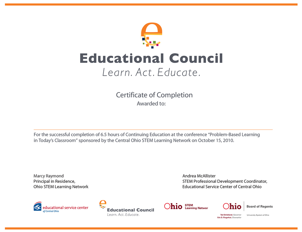 Education Council Foundation award certificate.