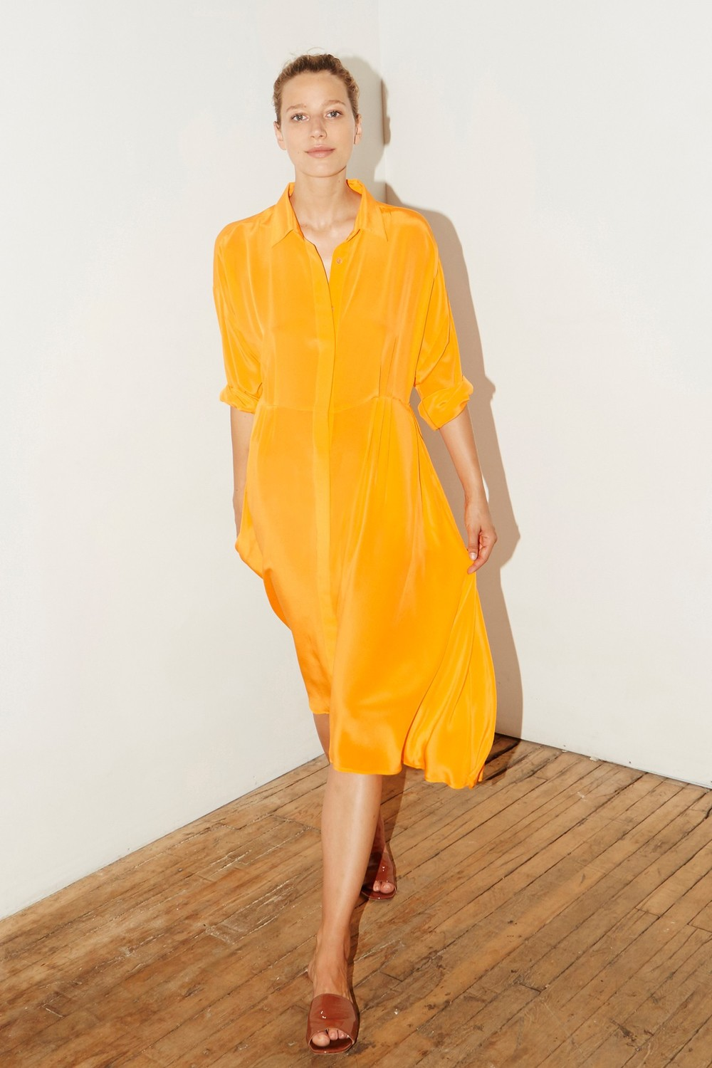 DATURA - Citric Orange Silk Shirt