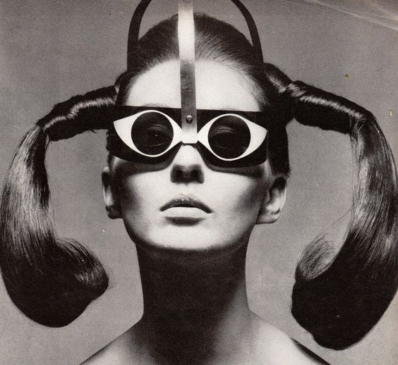 "Mrs. Tony Curtis in ""Eyeeye"" Sunglasses by Mario Marenco, Vogue - March 15th 1967, Photographed by Ugo Mulas -"
