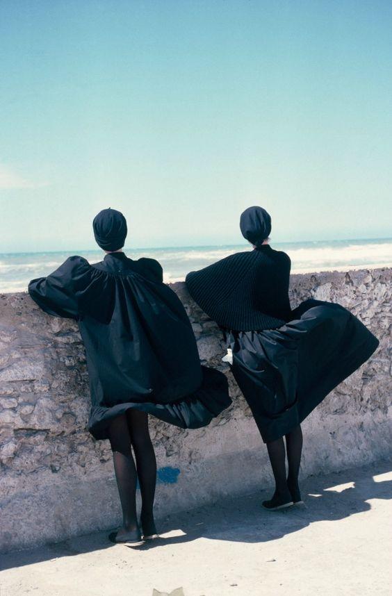 Marie Claire, Essaouira, Morocco, Betty Bertrand Kenzo et Dorothée Bis, 1981. -