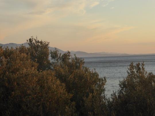 亚得里亚海上的水彩色天空 -