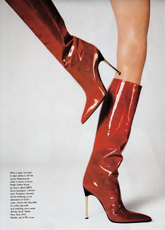 gucci boots by steven meisel for vogue us july 1997. -