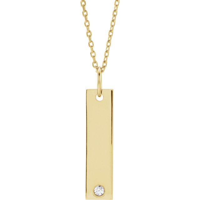 Engravable Gold Bar Necklace with Diamond Julia Ballentine Fine