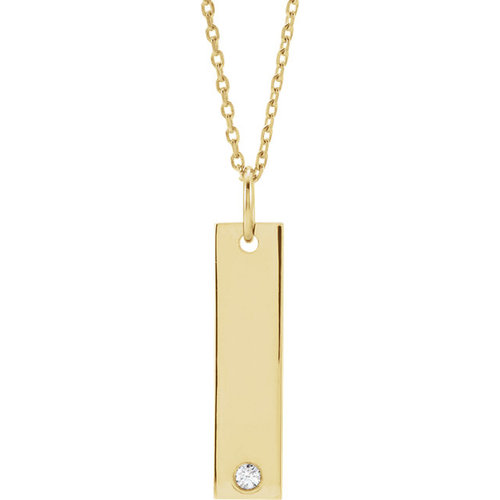 Engravable gold bar necklace with diamond julia ballentine fine engravable gold bar necklace with diamond aloadofball Image collections