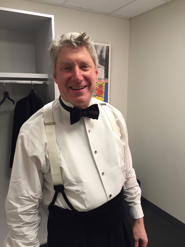 Michael Stern getting ready backstage at the YCA Gala