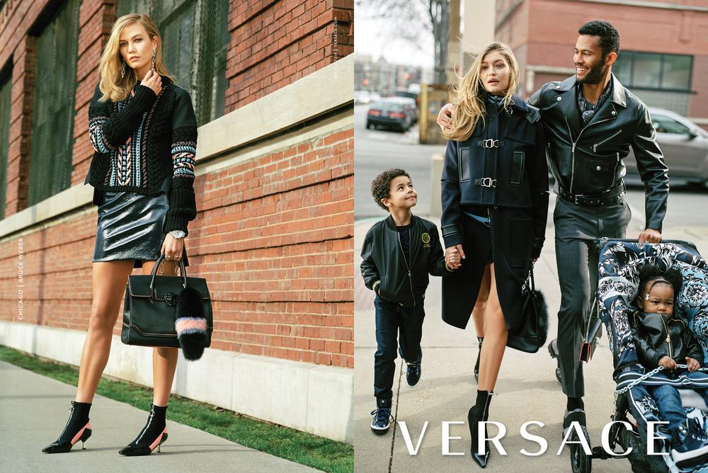 Karlie Kloss and Gigi Hadid for Versace Fall/Winter 2016 campaign.  Photography: Bruce Weber Art Direction: Sam Shahid