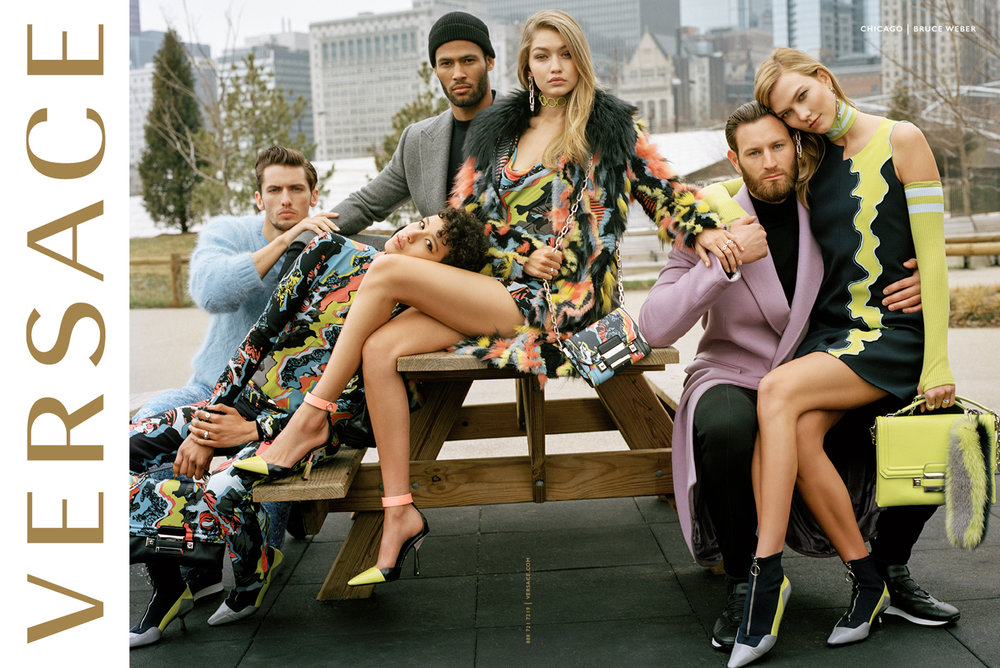 Versace Fall/Winter 2016 campaign.  Photography: Bruce Weber Art Direction: Sam Shahid Models: Karlie Kloss, Gigi Hadid, Dilone