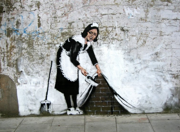 """The work of artist, """"Banksy"""" on the streets of Bristol.Michael Summers, CC BY-NC-ND"""
