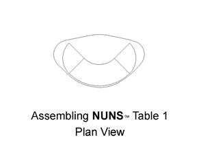 The NUN #1 desk system is assembled using 2 Quarter Rounds, Curved C-Base and #1 Desk Top .