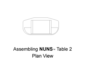 The NUNS #2 desk system is assembled using 2 Quarter Rounds, U-Base, Flat Panel and #2 Desk Top .