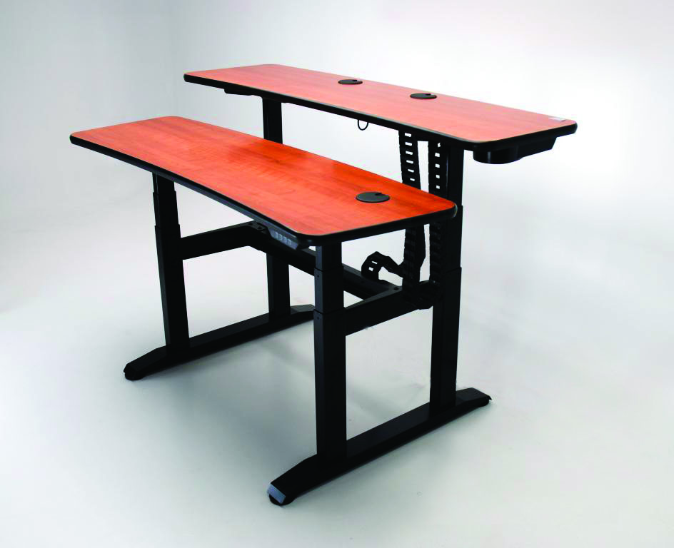 Ergonomic dual height editing desk