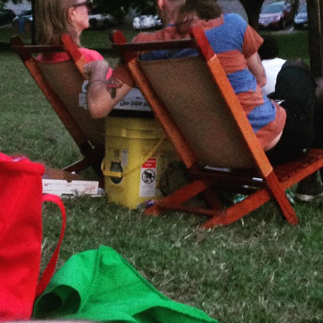 A random couple Austin-ing SO hard at Shakespeare In The Park last night. I never thought of using an empty Tidy Cat litter container as a cooler before. That's some next-level catladyness. #respect