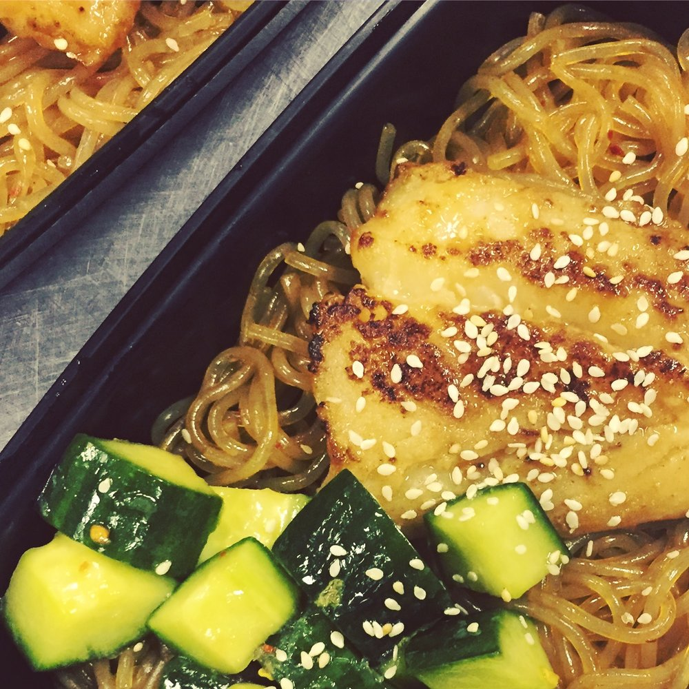 Miso-Glazed Cod with Glass Noodles and Sesame-Garlic Cucumbers