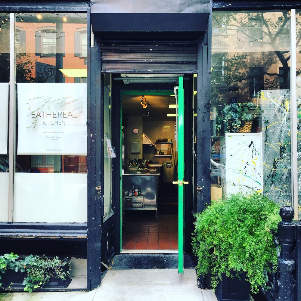 "E A T H E R E A L  K I T C H E N  - Welcome to Eathereal Kitchen! We're a women-powered, globally-inspired catering and events company on the Upper East Side of Manhattan.Behind our kitchen's green door, we're all about ""Earthing Out.""That means we combine seasonal, sustainable ingredients with global techniques and flavors to create inspired, custom-cuisine for your event. From cocktails to intimate dinner parties, to lavish weddings and everything in between, Founder and Executive Chef Sarah Flynn and her team will work closely with you to create a flawless and delicious experience that brings your vision to life.Our kitchen is also open forhands on cooking classes, birthday celebrations and more.Drop us a line & let's Earth Out!"