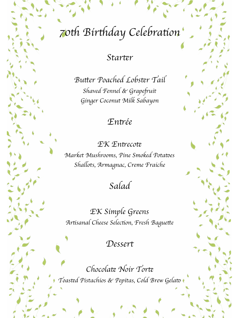 70th Birthday Dinner Celebration Menu