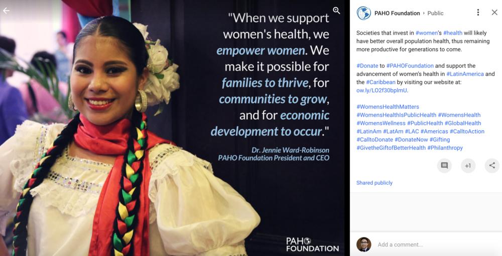 PAHO Foundation Google+ Post 2