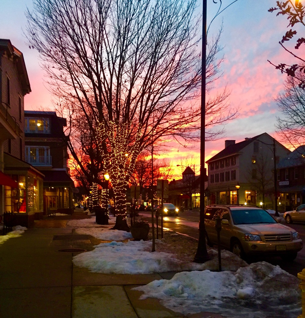 An early winter evening looking down Kings Highway, Haddonfield 2016